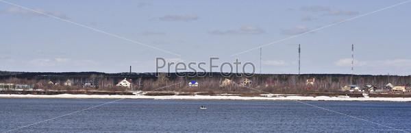 Фотография на тему Панорама реки и голубого неба