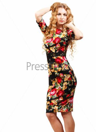 Фотография на тему Блондинка в платье с узором из роз