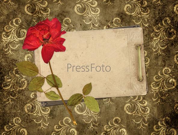 Старая открытка и сухая роза