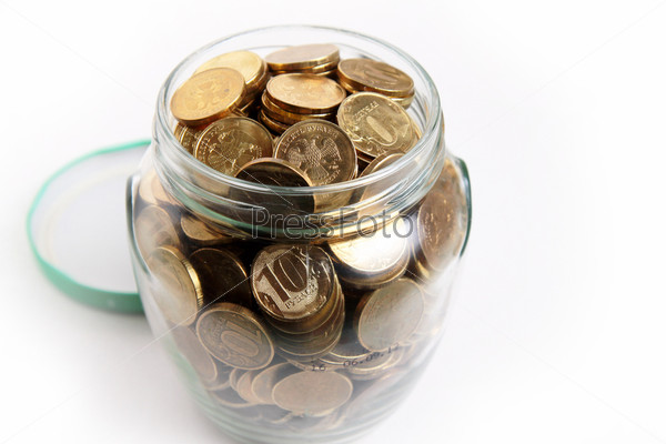 Фотография на тему Российские рубли в стеклянной банке, накопление и экономия