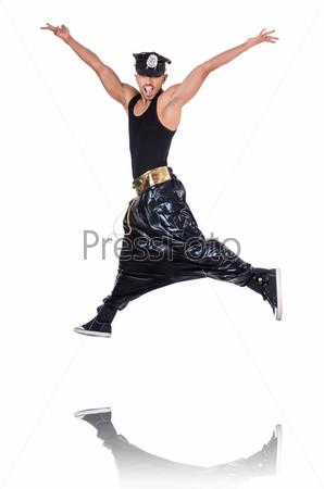 Танцор в стиле рэп, изолированный на белом
