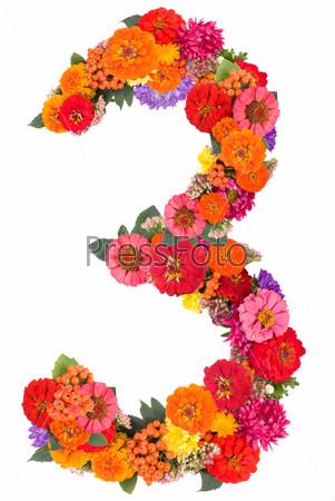 Цифра 3 из цветов