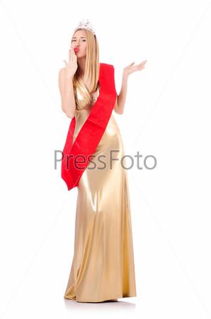 Фотография на тему Королева красоты на конкурсе, изолированная на белом