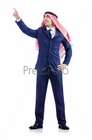 Фотография на тему Арабский бизнесмен, изолированный на белом фоне