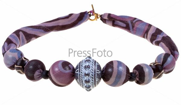 Фиолетово-черные шелковые бусы ручной работы