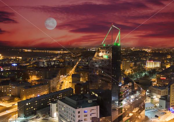 Фотография на тему Ночная панорама Таллина с верхней части дома