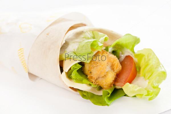 Фотография на тему Лепешка с курицей и овощами