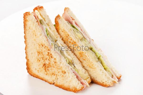 Фотография на тему Сэндвич с ветчиной и овощами