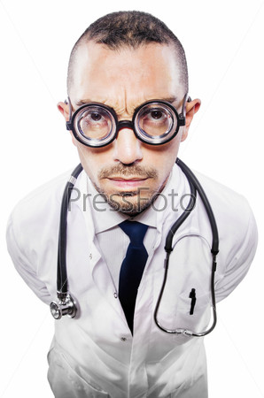 Забавный доктор, изолированный на белом