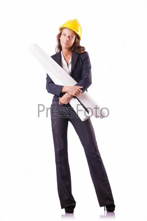 Фотография на тему Строительный рабочий с каской на белом
