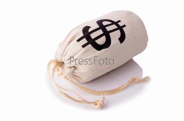 Мешки с деньгами на белом