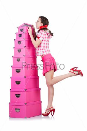 Фотография на тему Молодая женщина с коробками на белом фоне