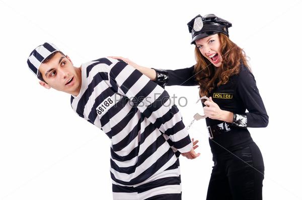 Фотография на тему Полицейский и заключенный на белом фоне