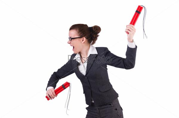 Фотография на тему Бизнес-леди с динамитом на белом