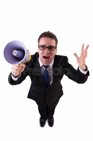 Молодой бизнесмен с громкоговорителем на белом