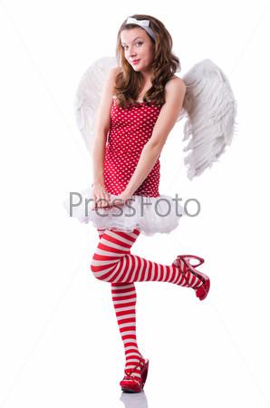 Фотография на тему Ангел в красной одежде на белом фоне