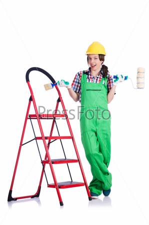 Фотография на тему Строитель с лестницей