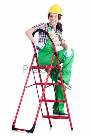 Строитель с лестницей