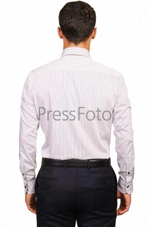 Модель в рубашке, изолированная на белом