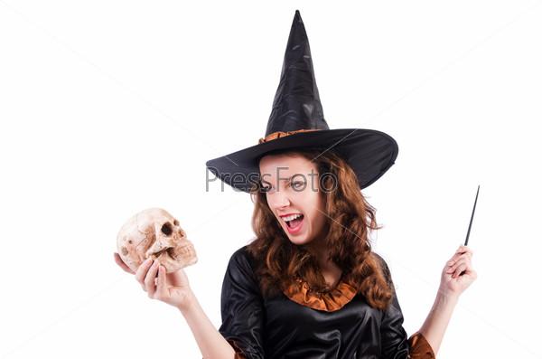 Фотография на тему Ведьма, изолированная на белом фоне