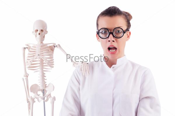 Фотография на тему Доктор со скелетом на белом