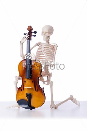 Скелет играет на скрипке, изолированный на белом