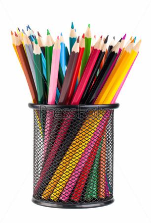 Фотография на тему Цветные карандаши в металлической подставке