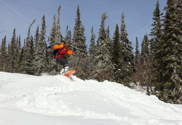Девушка прыгает на сноуборде в лесу