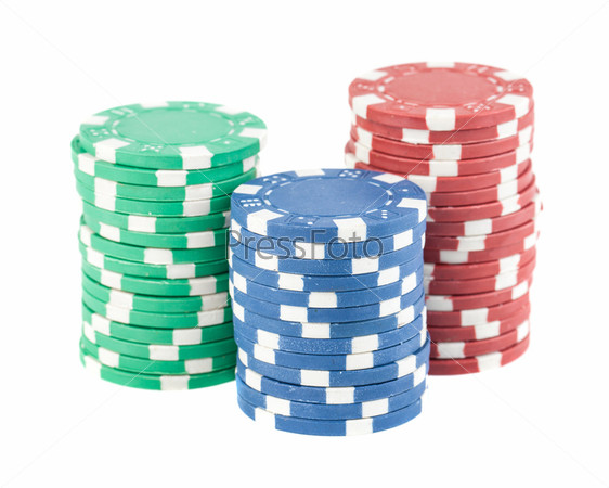 Три стопки фишек казино