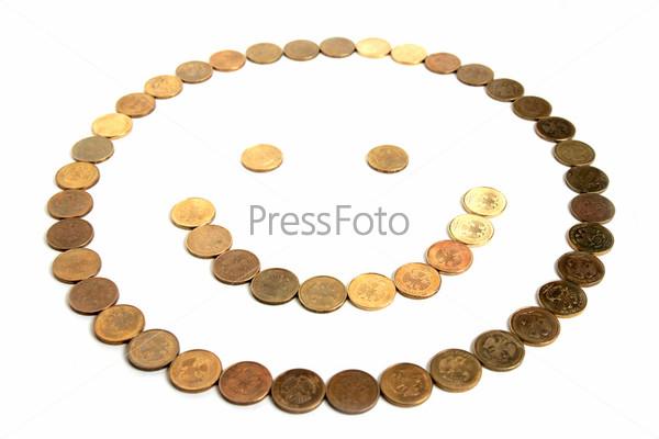 Абстрактный смайл из российских монет