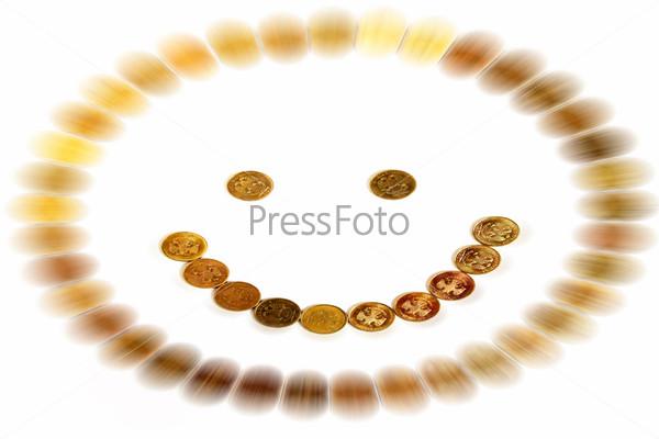 Фотография на тему Абстрактный смайл из российских монет