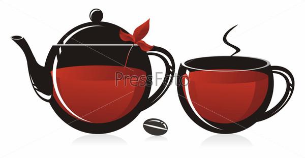 Стеклянный чайник и кружка