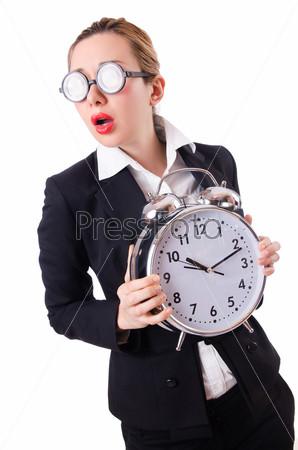 Деловая женщина с гигантскими часами