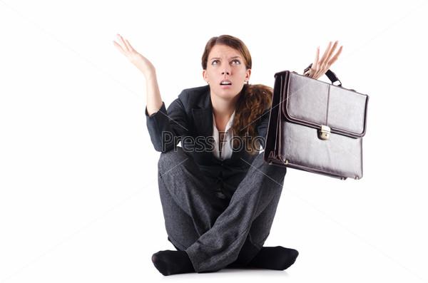 Фотография на тему Обанкротившаяся деловая женщина, изолированная на белом фоне