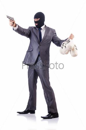 Бизнесмен-преступник с мешками денег