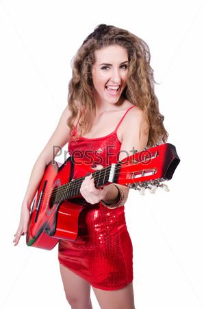 Фотография на тему Женщина-гитарист, изолированная на белом
