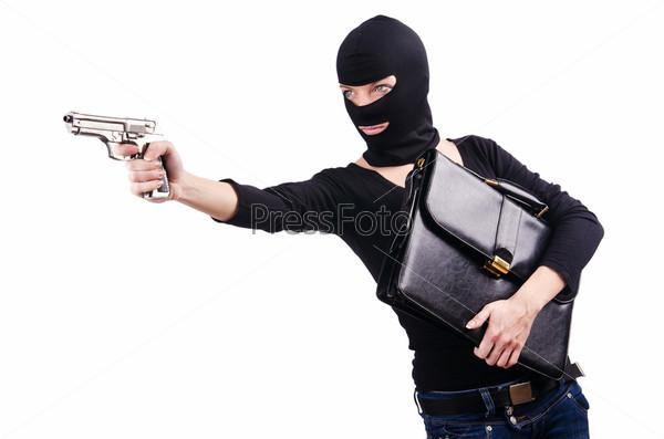 Фотография на тему Преступник с пистолетом, изолированный на белом