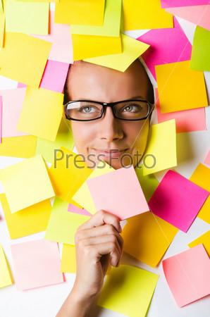 Фотография на тему Бизнес-леди с кучей стикеров