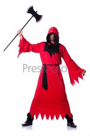 Фотография на тему Палач в красном костюме с топором на белом