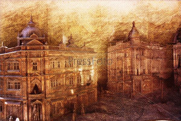 Фотография на тему Различные старинные здания как старый бумажный фон