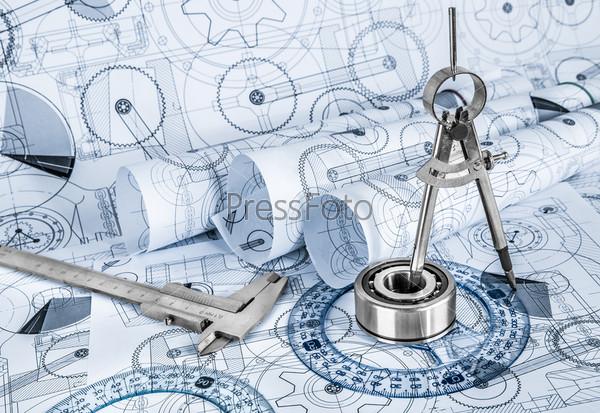 Технические чертежи с подшипником