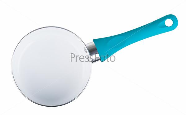 Фотография на тему Пустая синяя кастрюля из нержавеющей стали