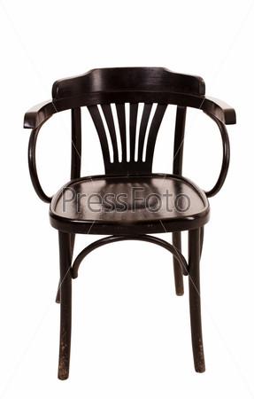 Фотография на тему Деревянный стул на белом фоне