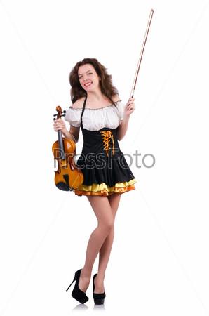 Фотография на тему Молодая женщина со скрипкой на белом
