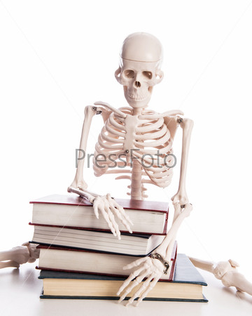 Скелет с книгами, изолированный на белом