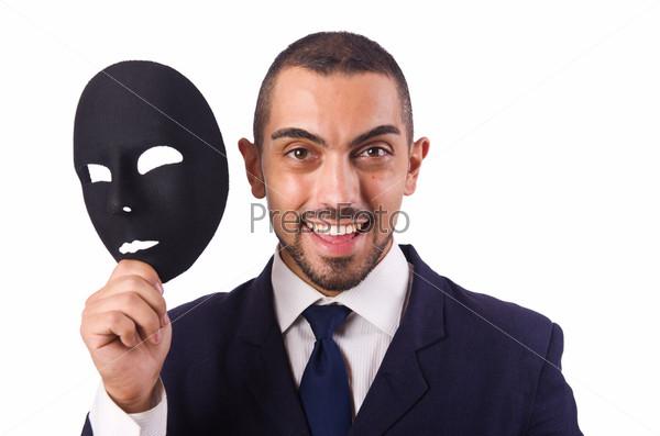 Человек с маской, изолированный на белом