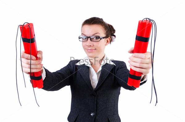 Фотография на тему Бизнес-леди с динамитом на белом фоне