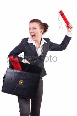 Бизнес-леди с динамитом на белом фоне