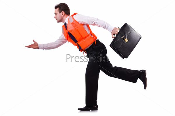 Бизнесмен в спасательном жилете на белом