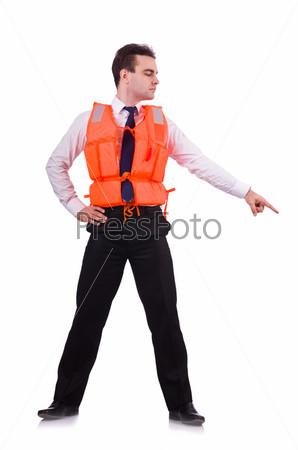 Фотография на тему Бизнесмен в спасательном жилете на белом